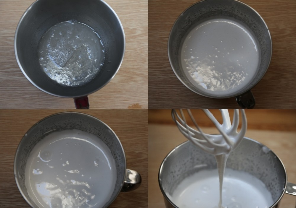 Clockwise from the top. 1. The sugar and gelatin mixture prior to beating. 2.The mixture after 5 minutes of beating. 3. The mixture after 7-10 minutes of beating. 4. The mixture when it's ready, note the thick steam of marshmallow.